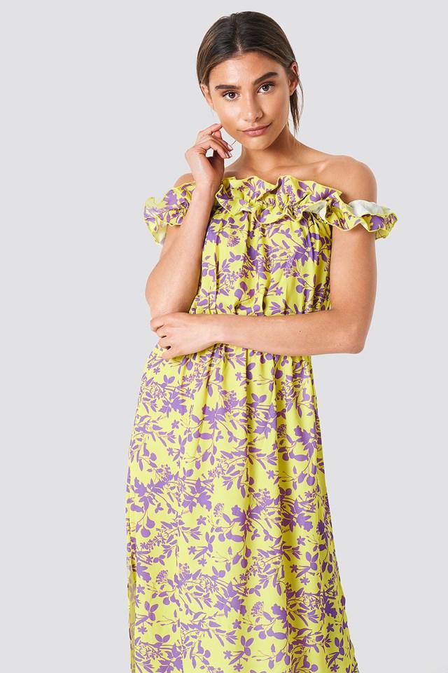 Wzorzysta sukienka z falbankami Yellow