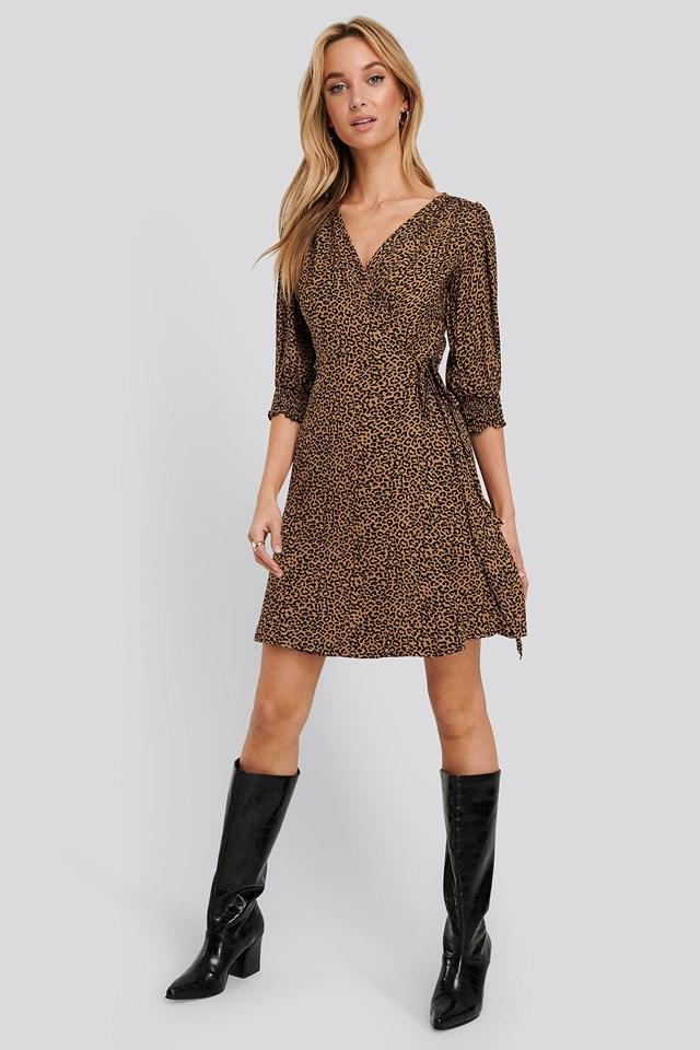 Patterned Mini Dress Brown