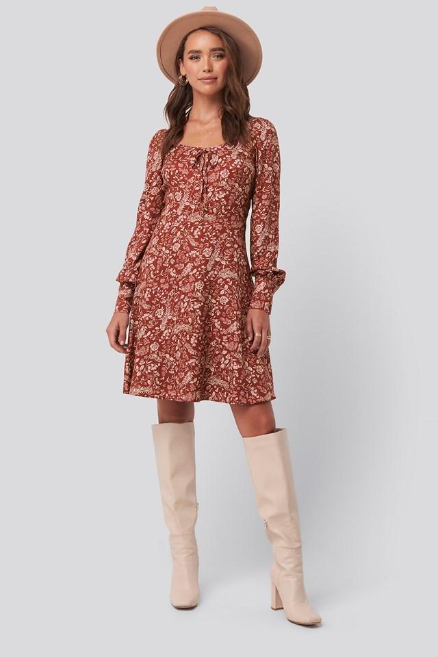 Patterned Mini Dress Red