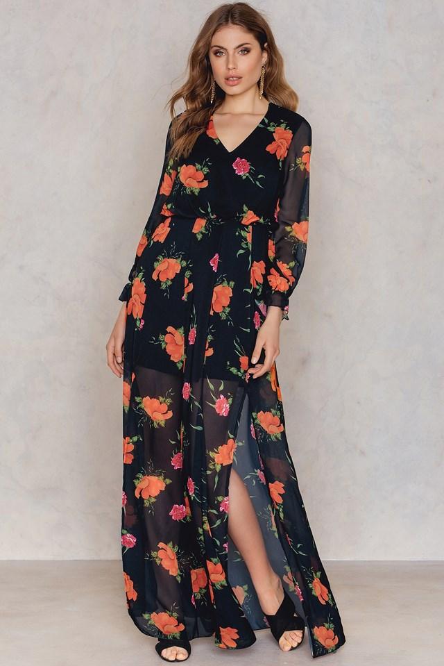 Patterned Slit Maxi Dress NA-KD.COM