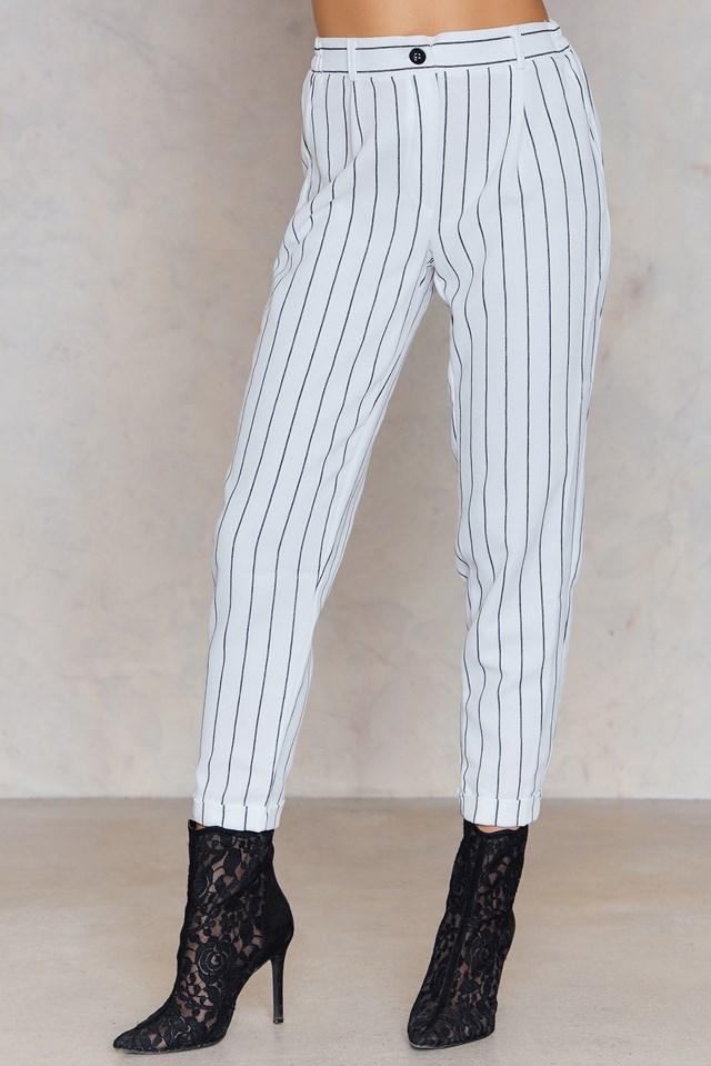 Pinstripe Ankle Pants White