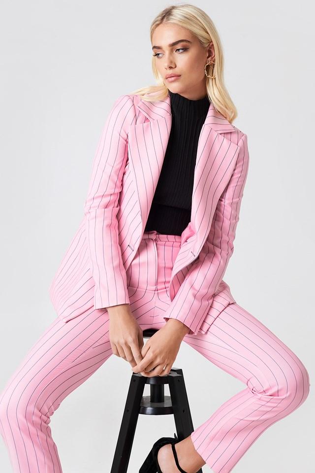 Pinstriped Blazer Pink