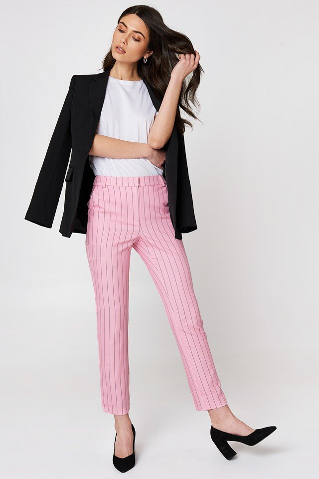 Pinstriped Straight Pants Pink