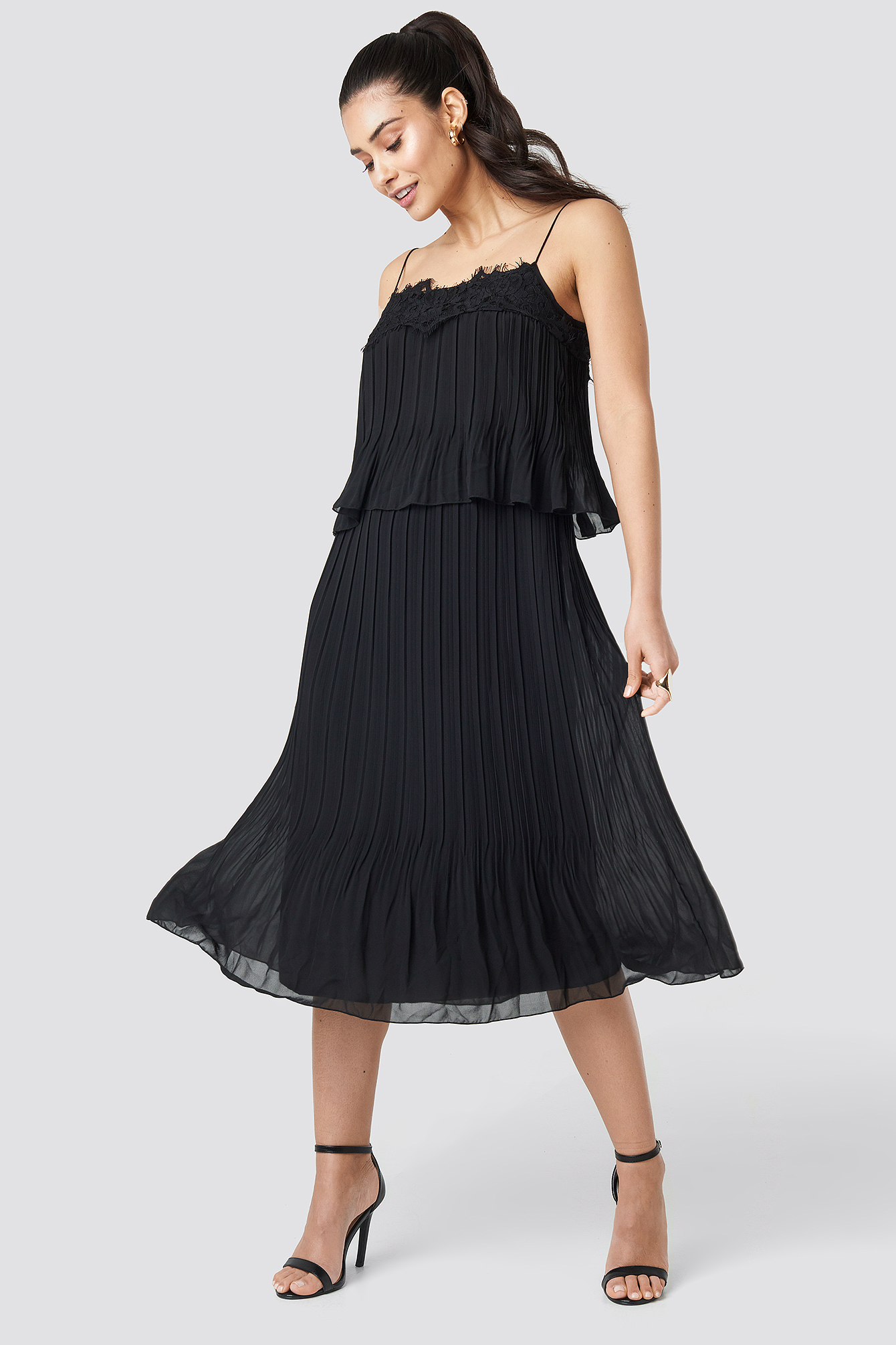 Pleat Detail Midi Dress NA-KD.COM