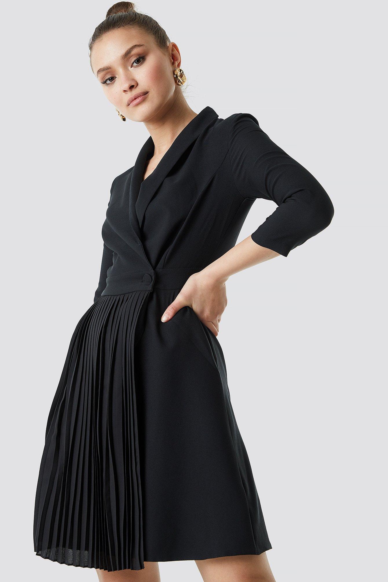 Pleat Detailed Mini Dress NA-KD.COM