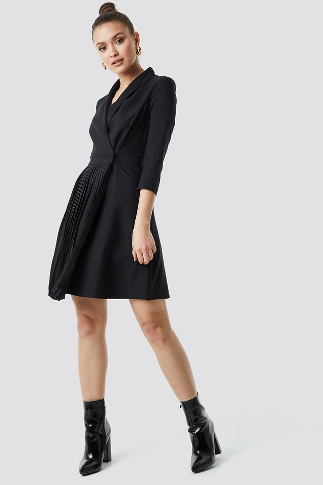 Pleat Detailed Mini Dress Black