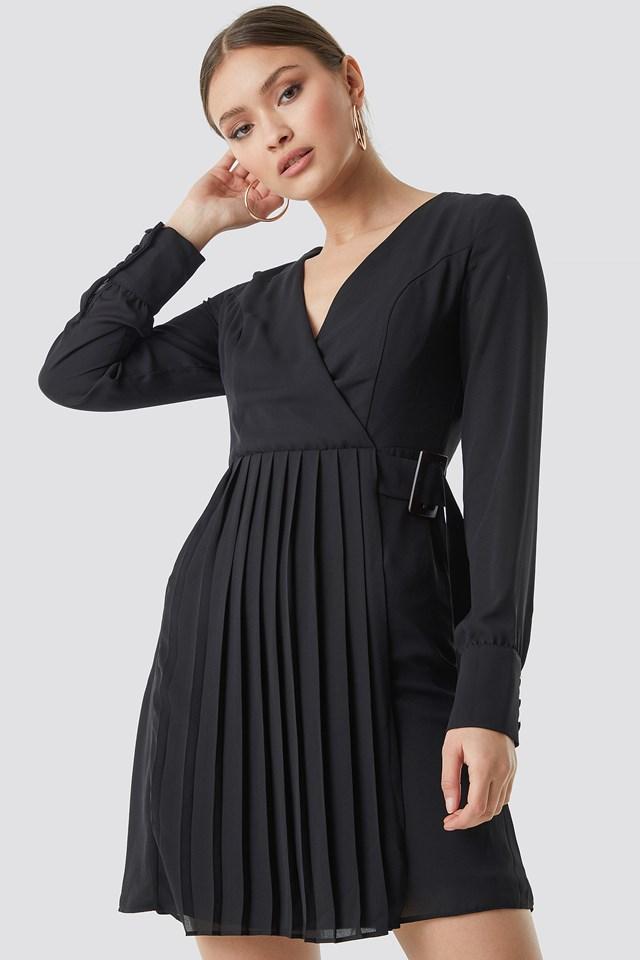 Pleated Front Midi Dress Black