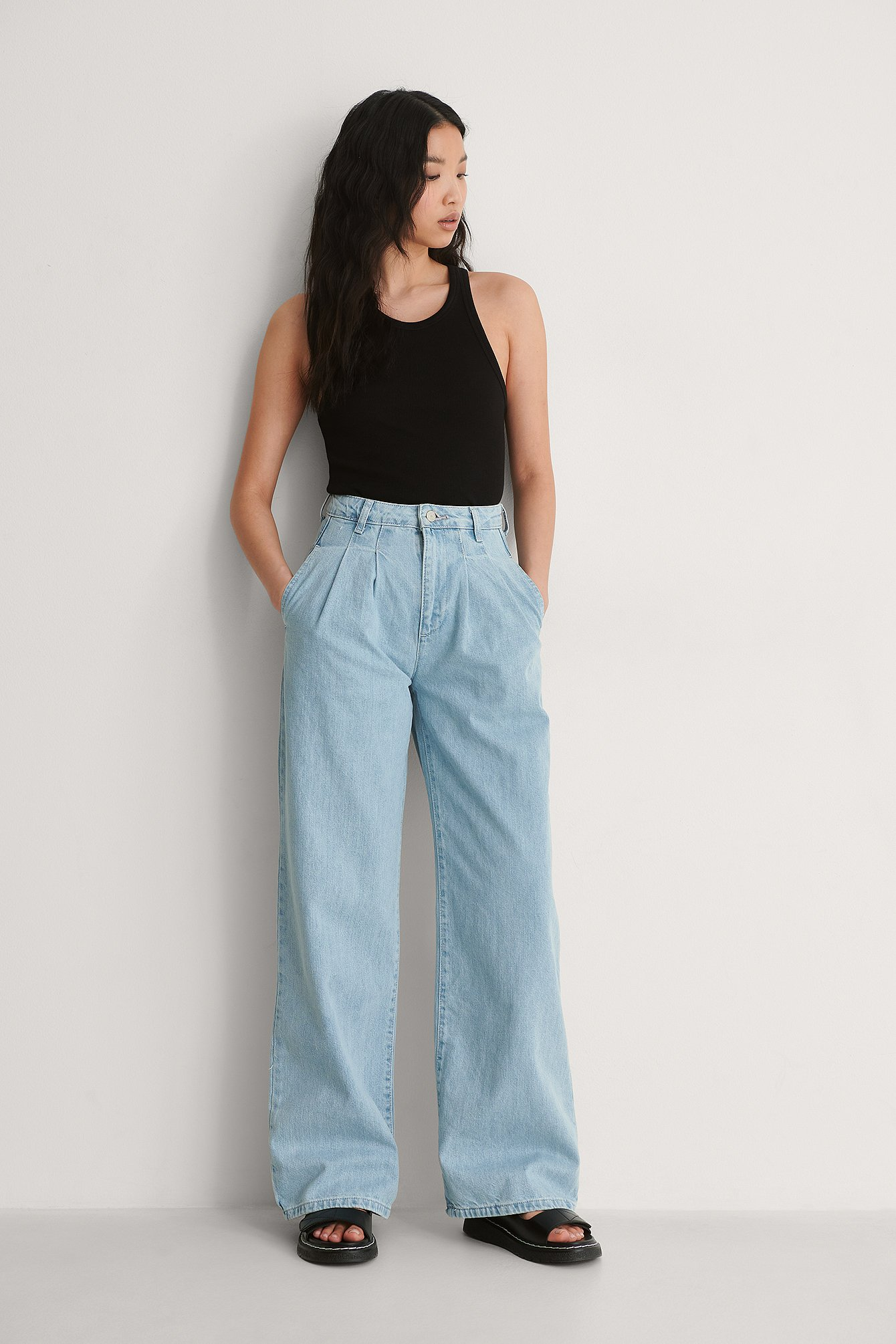 Trendyol Plisserede Højtaljede Jeans - Blue