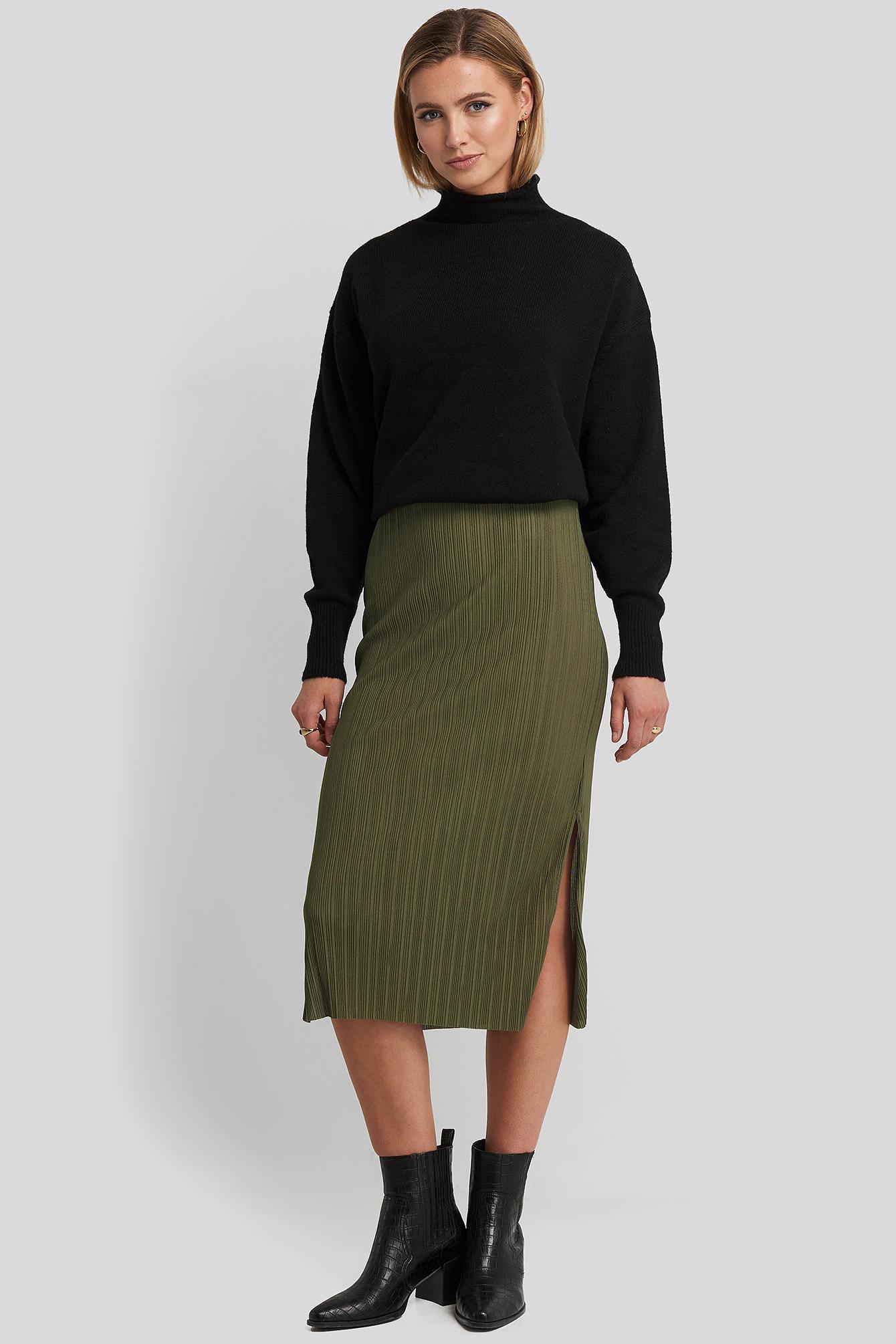 trendyol -  Pilise Midi Skirt - Green