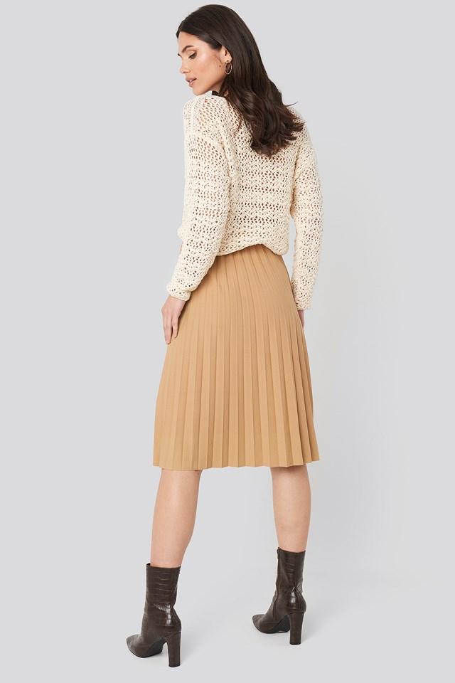 Plisse Midi Skirt Camel