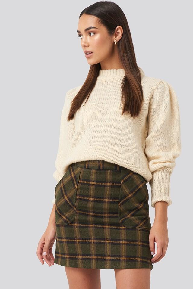 Pocket Detailed Mini Skirt Khaki