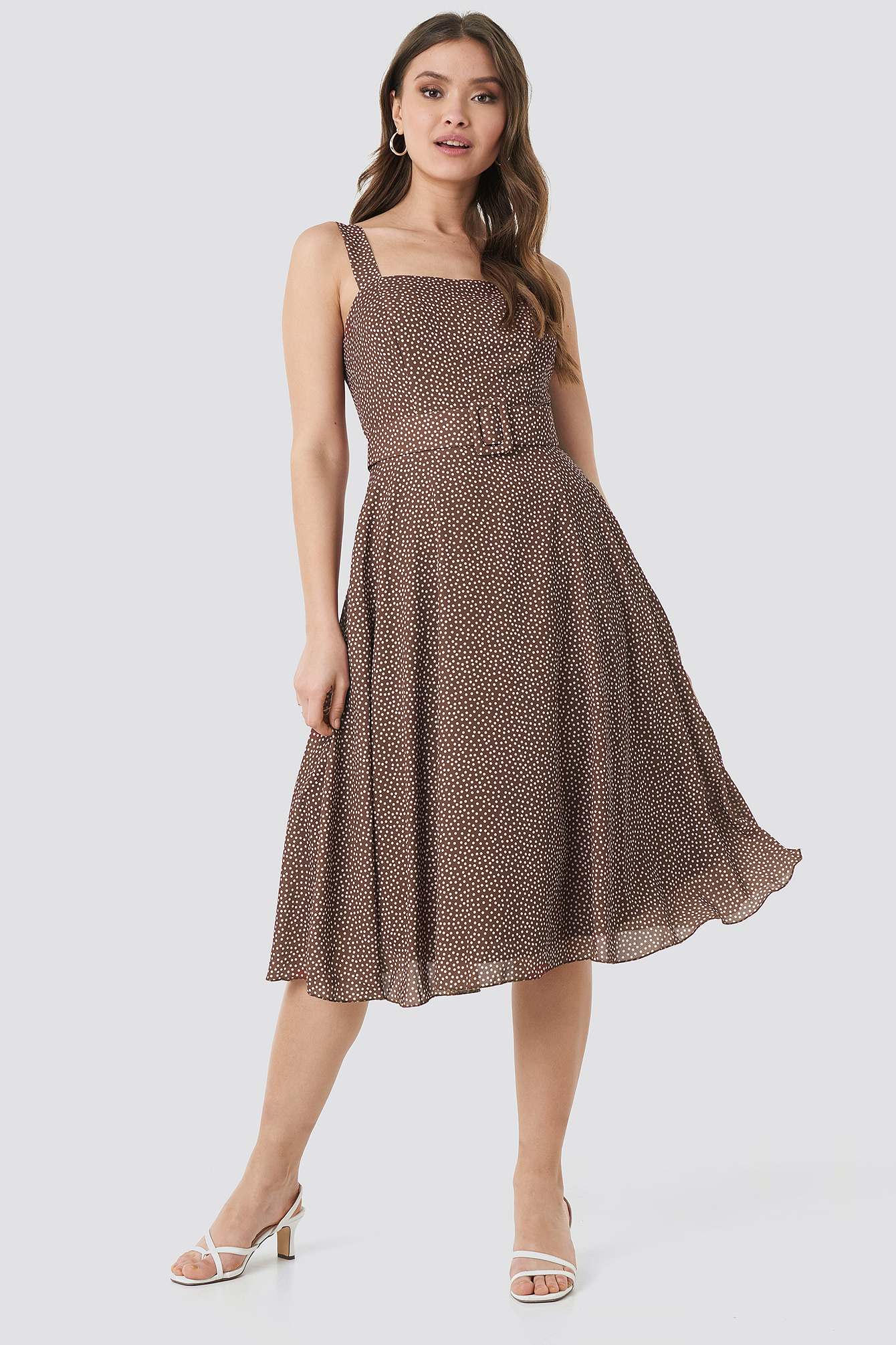 trendyol -  Polka Dot Midi Dress - Brown