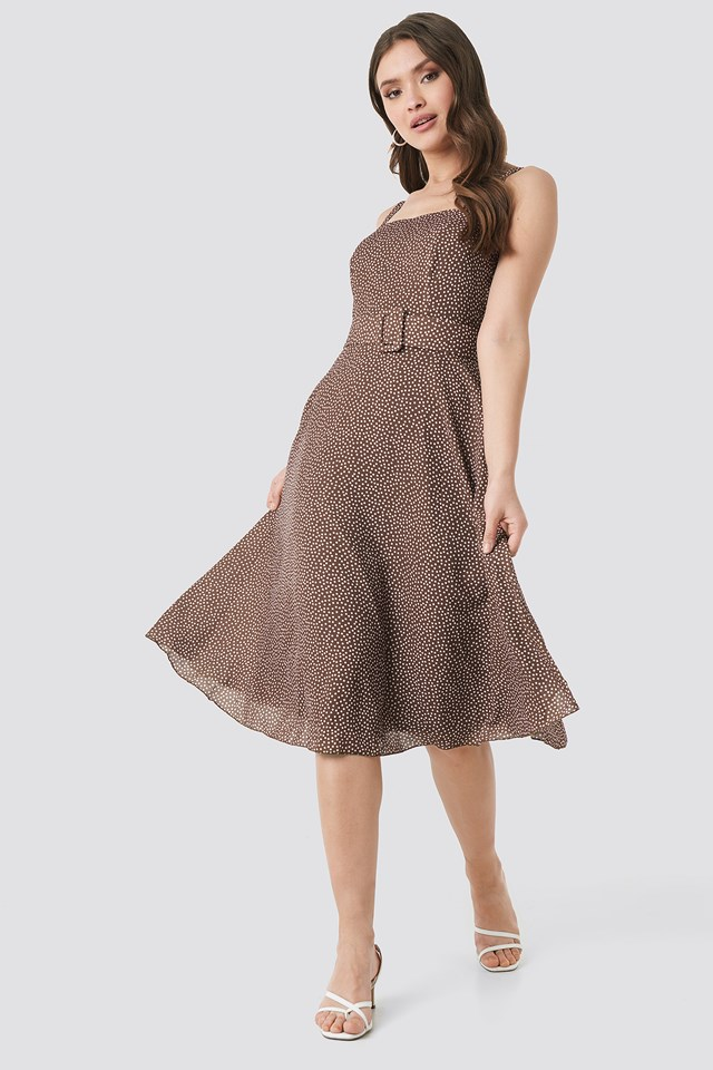 Polka Dot Midi Dress Brown