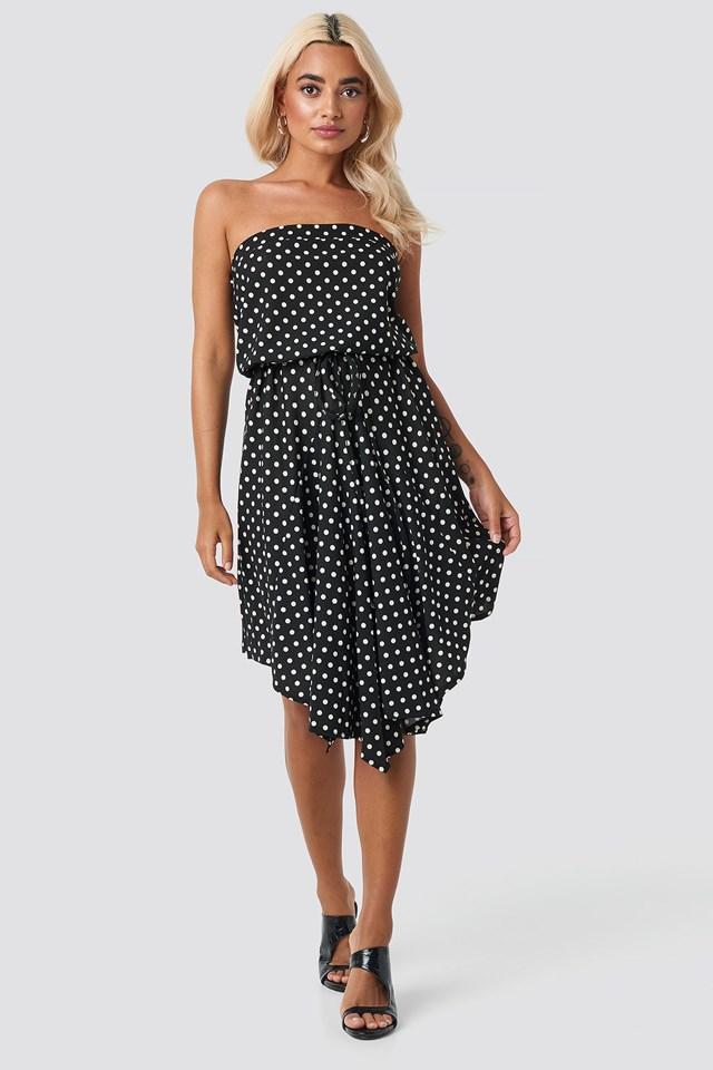 Polka Dot Mini Dress Black
