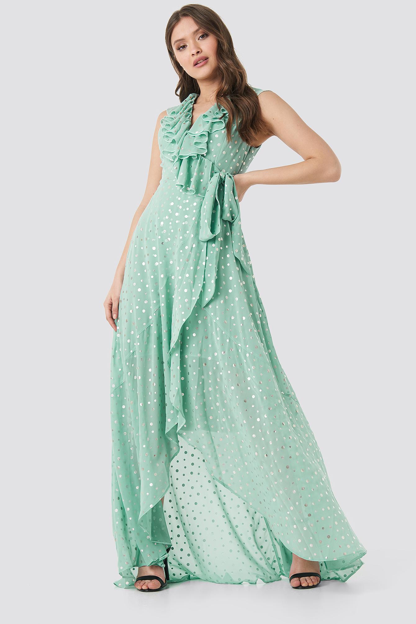 trendyol -  Polka Dots Evening Dress - Green