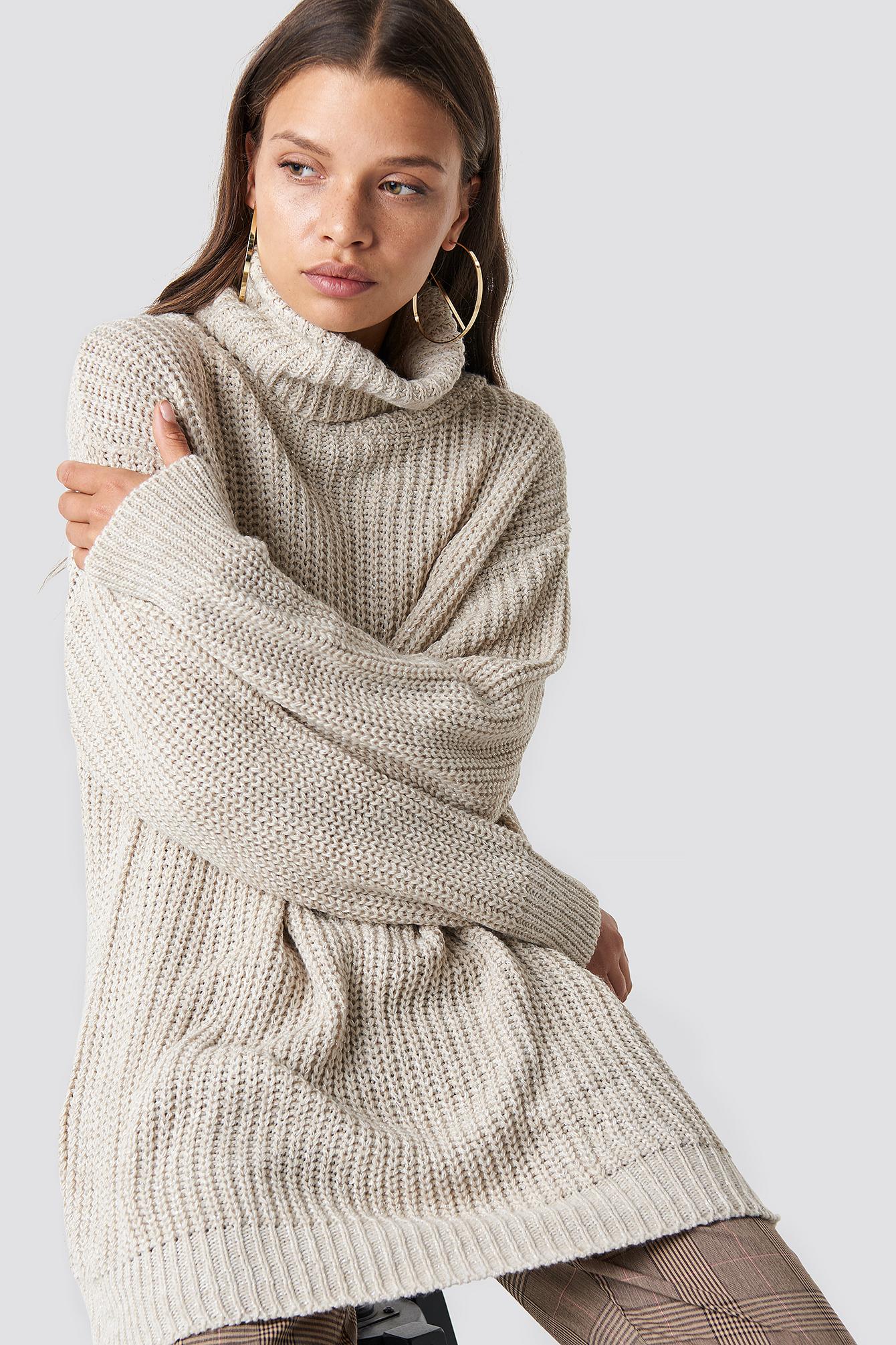 trendyol -  Polo Knitted Sweater - Beige