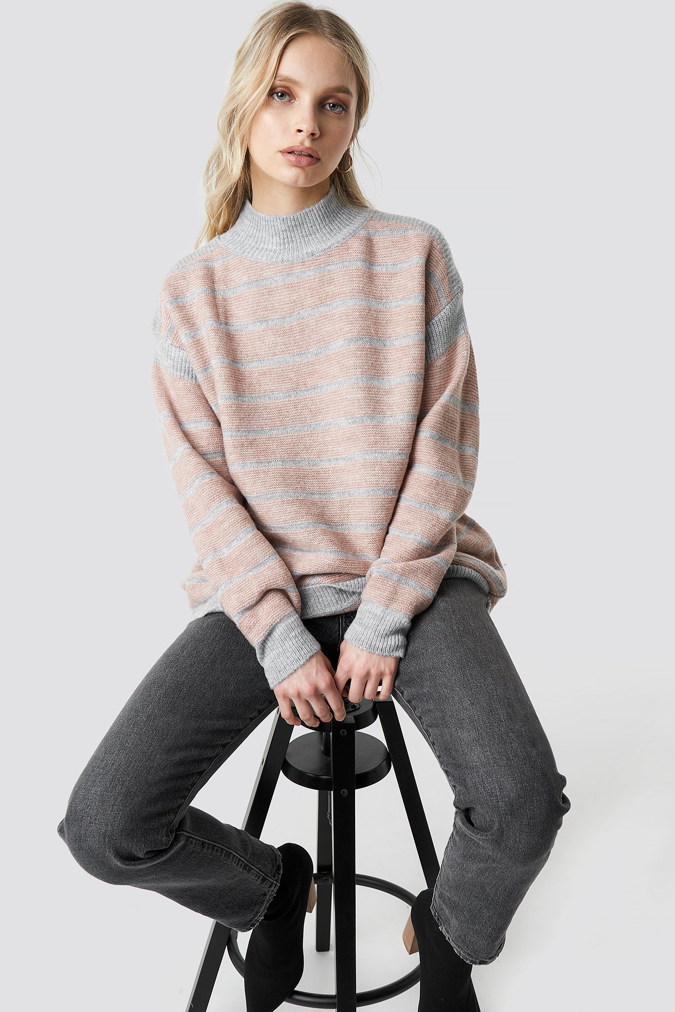 Polo Neck Striped Sweater NA-KD.COM