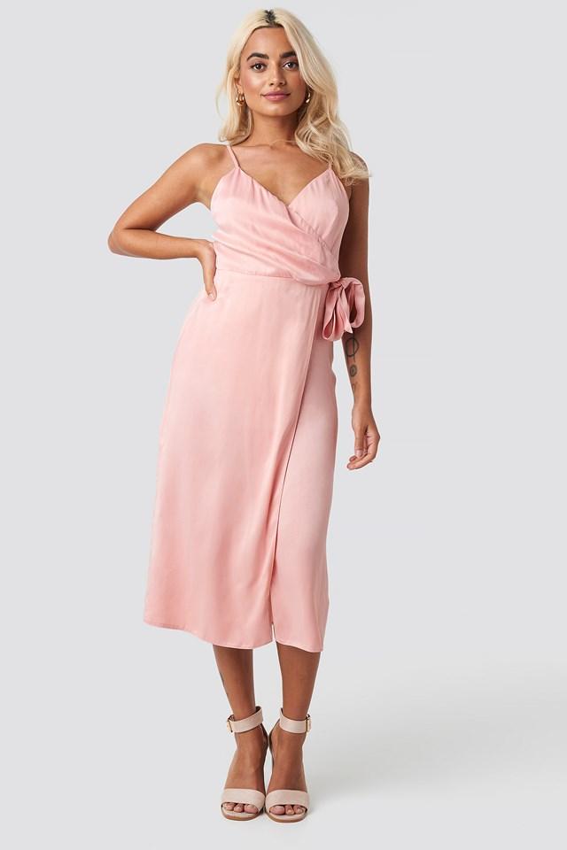 Powder Belted Wrap Midi Dress Powder Pink