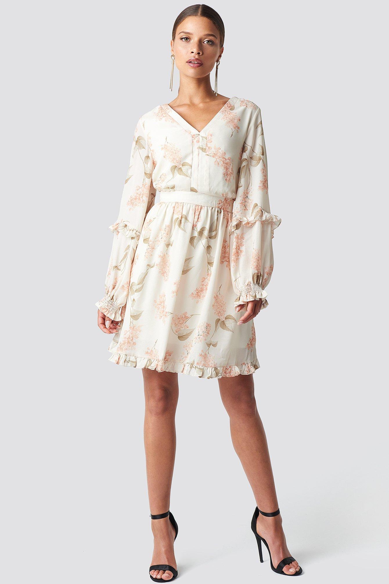 Powder Flower Patterne Mini Dress NA-KD.COM