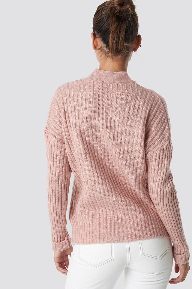 Powder Knitted Detailed Sweater Cardigan Powder Pink