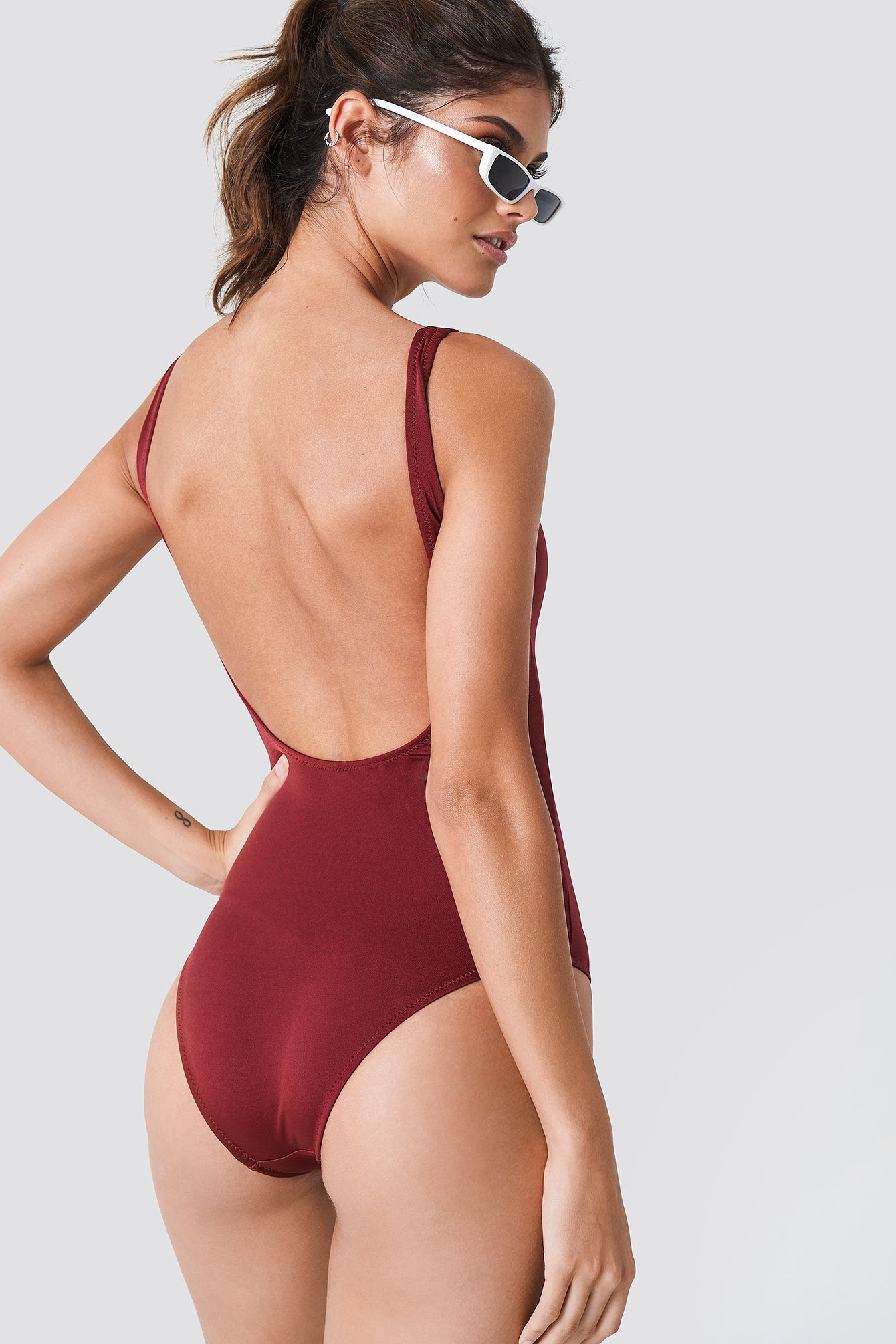 Printed Deep Back Swimsuit NA-KD.COM