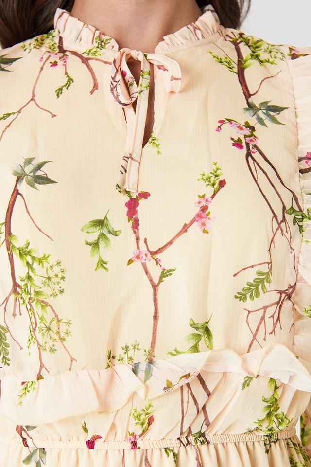 Printed Midi Dress Ecru