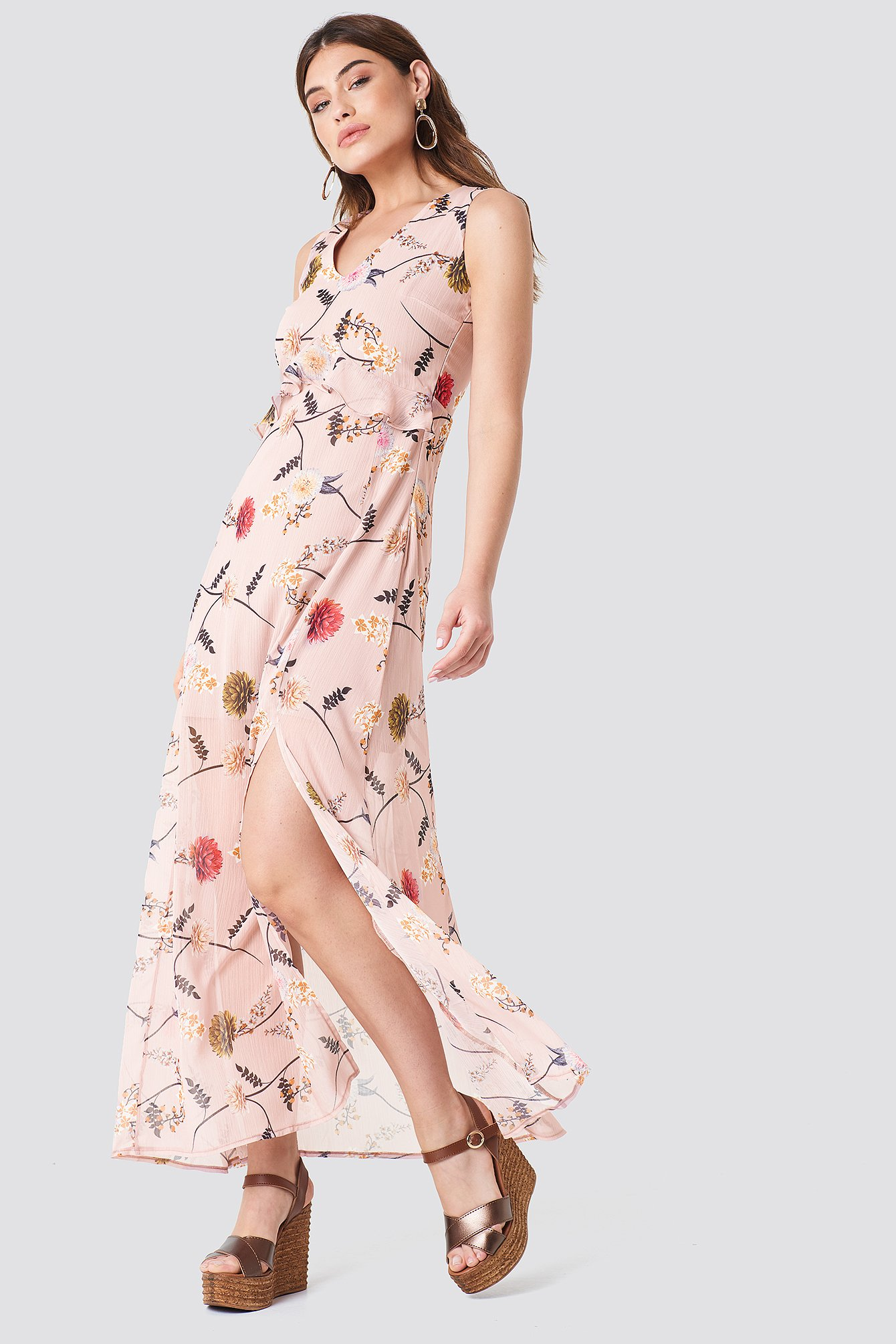 Printed Side Slit Dress NA-KD.COM