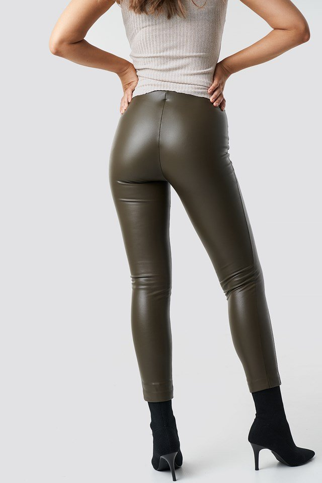 Pu Leather Pants Khaki