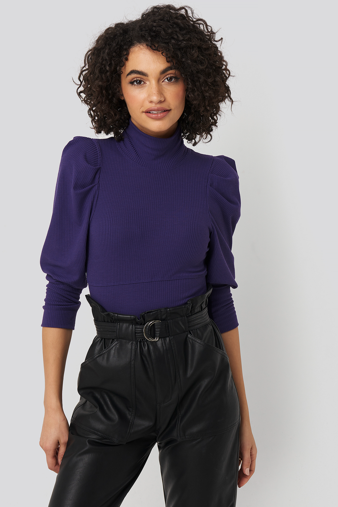 trendyol -  Puff Sleeve Corded Knit Top - Purple