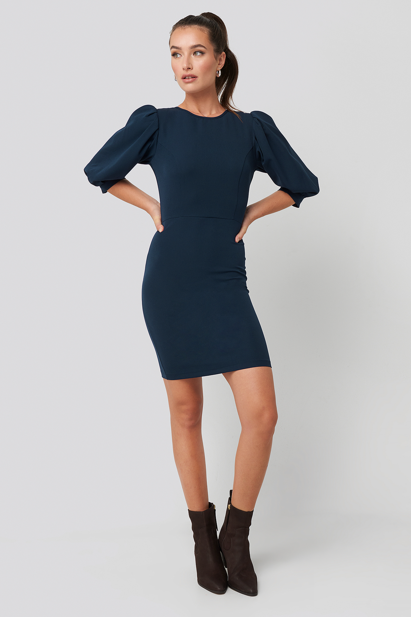 Navy Puff Sleeve Detailed Mini Dress