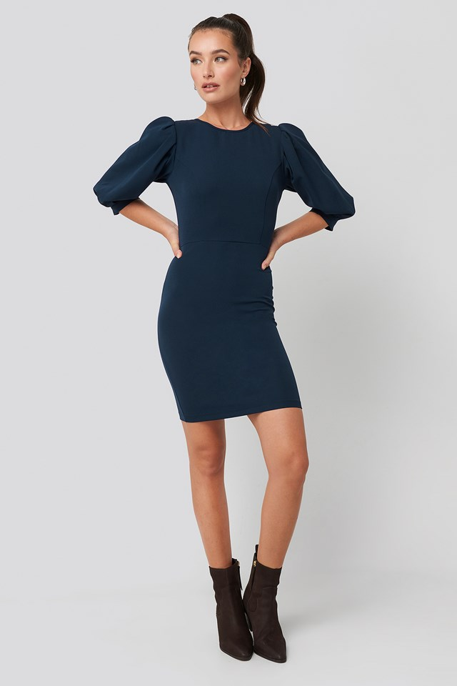 Puff Sleeve Detailed Mini Dress Navy