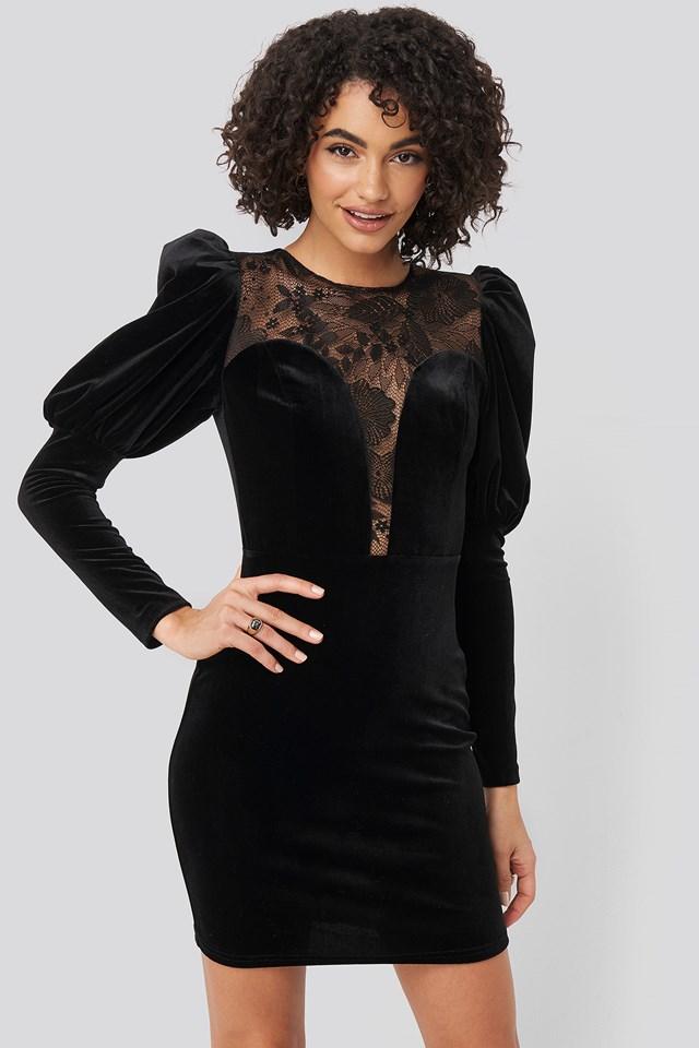 Puff Sleeve Detailed Velvet Dress Black