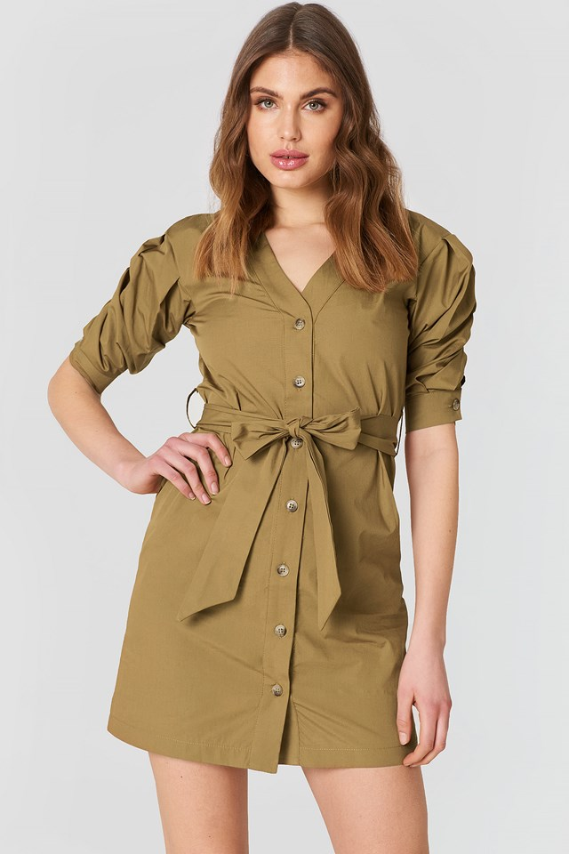 Puff Sleeve Dress Mustard