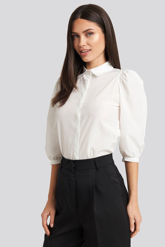 Puff Sleeve Shirt Ecru
