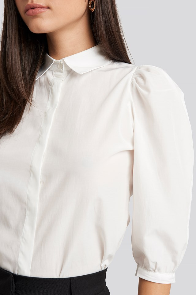 Puff Sleeve Shirt Ecru