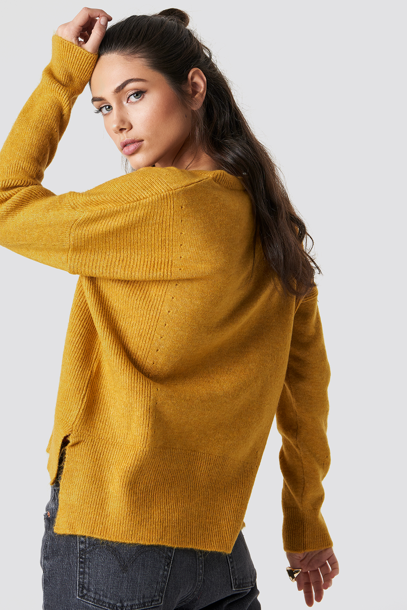 Mustard Punched Knitted Sweater