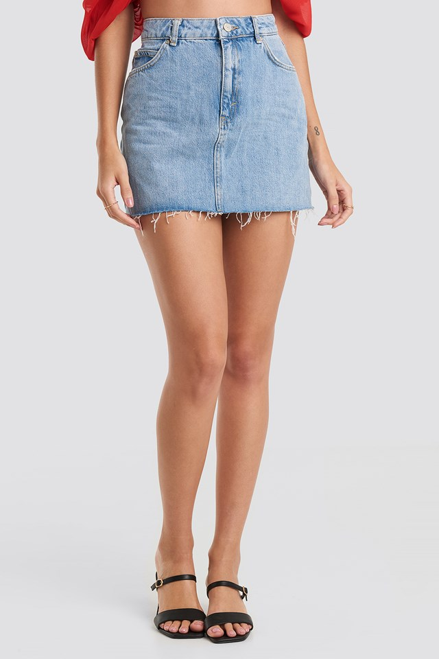 Raw Hem Denim Mini Skirt Blue