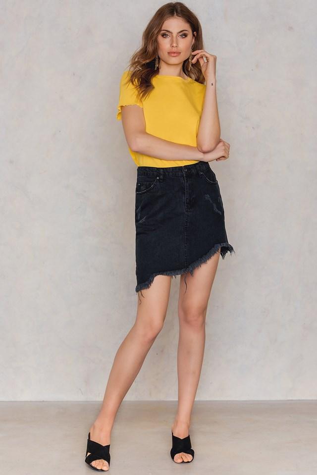 Jeansowa spódnica z surowym wykończeniem Black