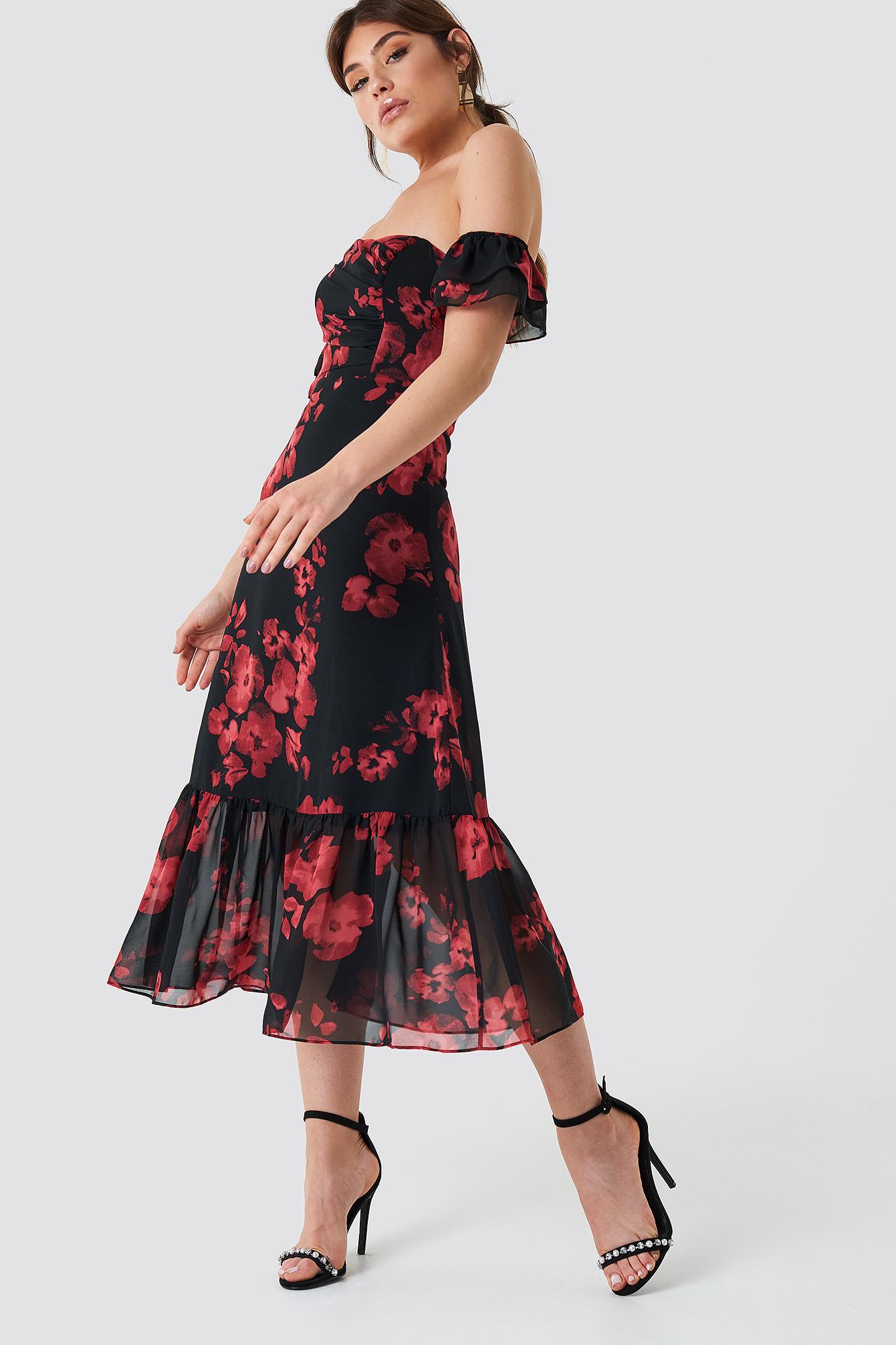 Relaxed Shoulder Midi Dress NA-KD.COM