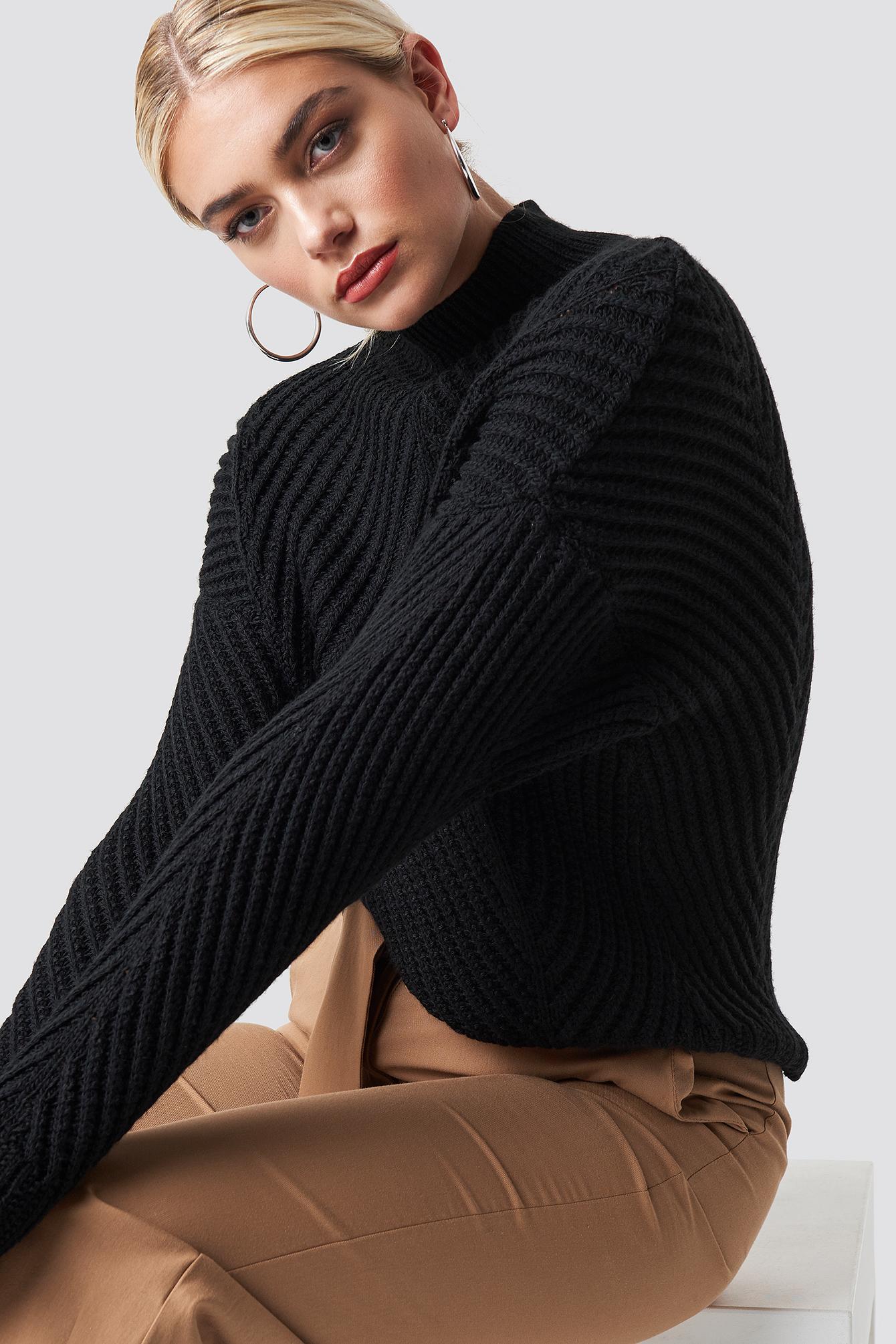 trendyol -  Rib Knitted High Neck Jumper - Black