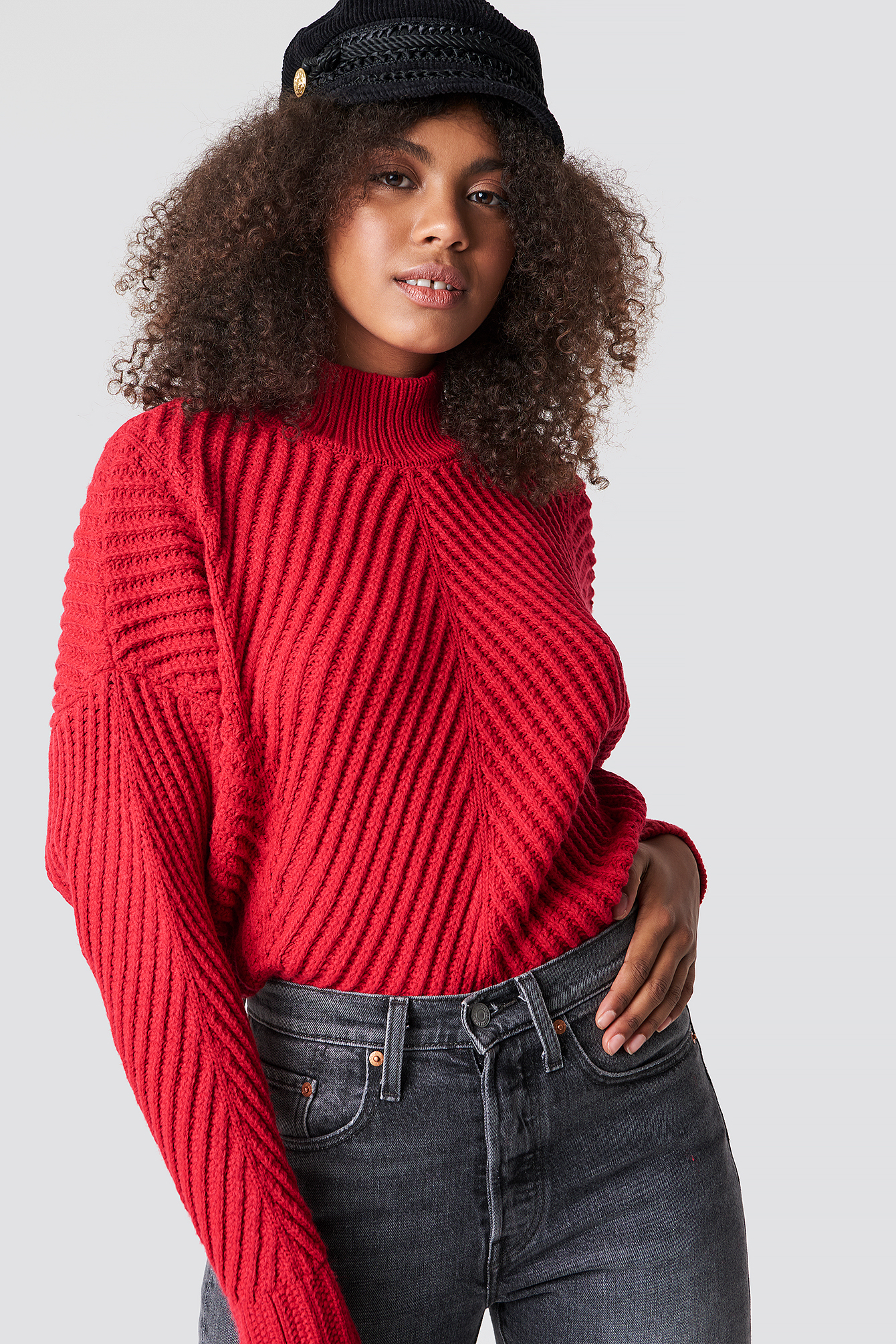 trendyol -  Rib Knitted High Neck Jumper - Red
