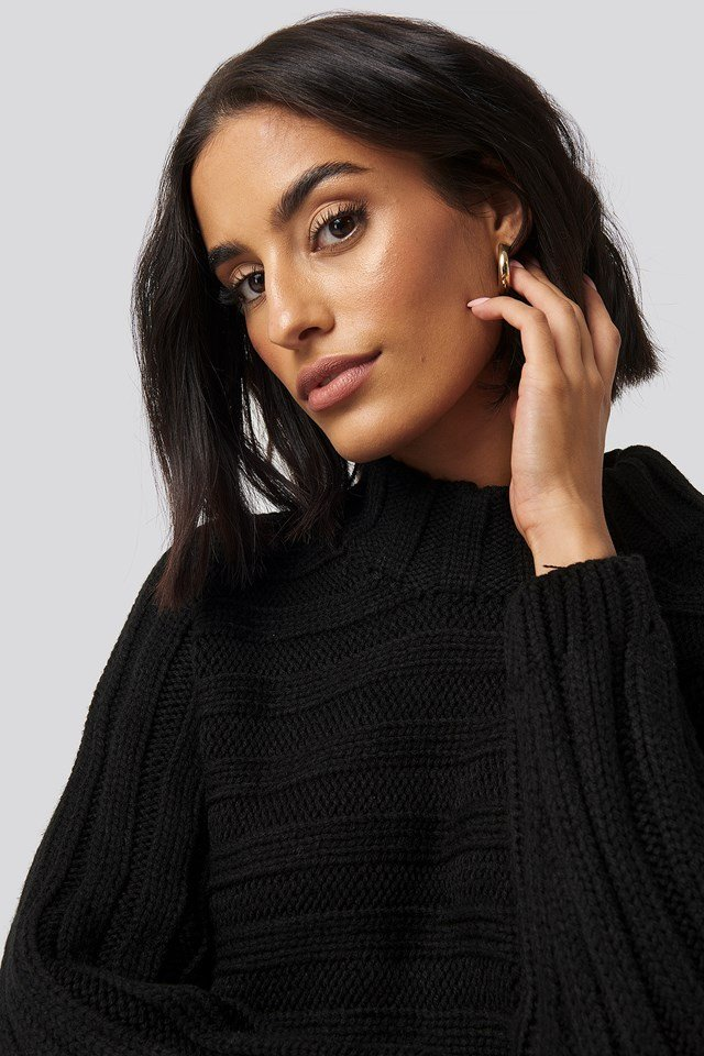 Ribbed Bat Sleeve Knitted Sweater Trendyol