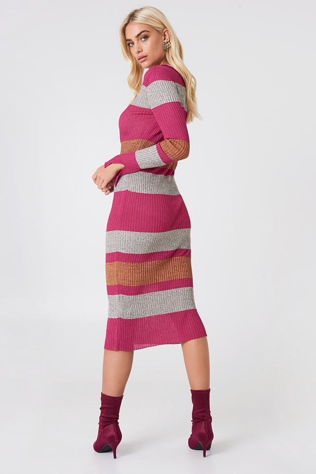 Ribbed Bodycon Dress Pink