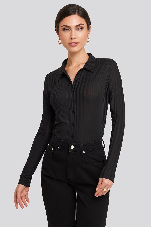 Ribbed Detailed Shirt Black