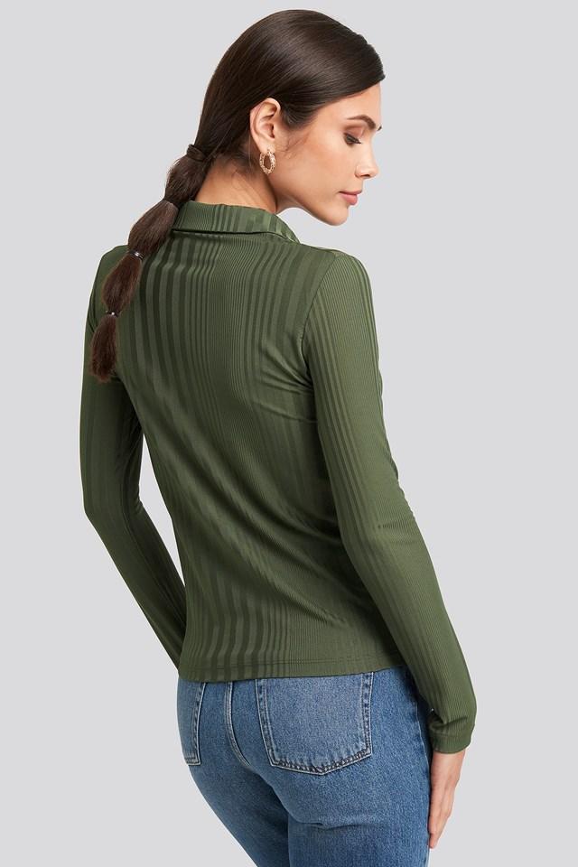 Ribbed Detailed Shirt Khaki