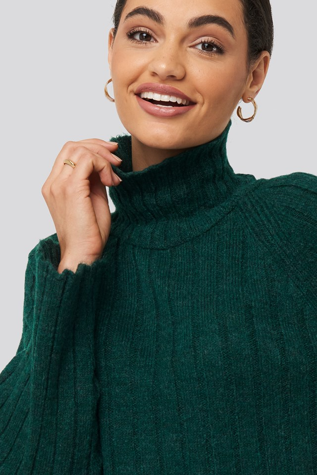 Ribbed High Neck Knitted Sweater Green