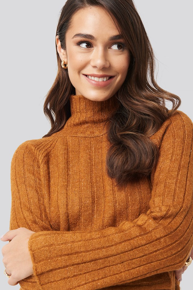 Ribbed High Neck Knitted Sweater Camel