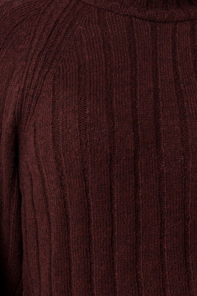Ribbed High Neck Knitted Sweater Burgundy