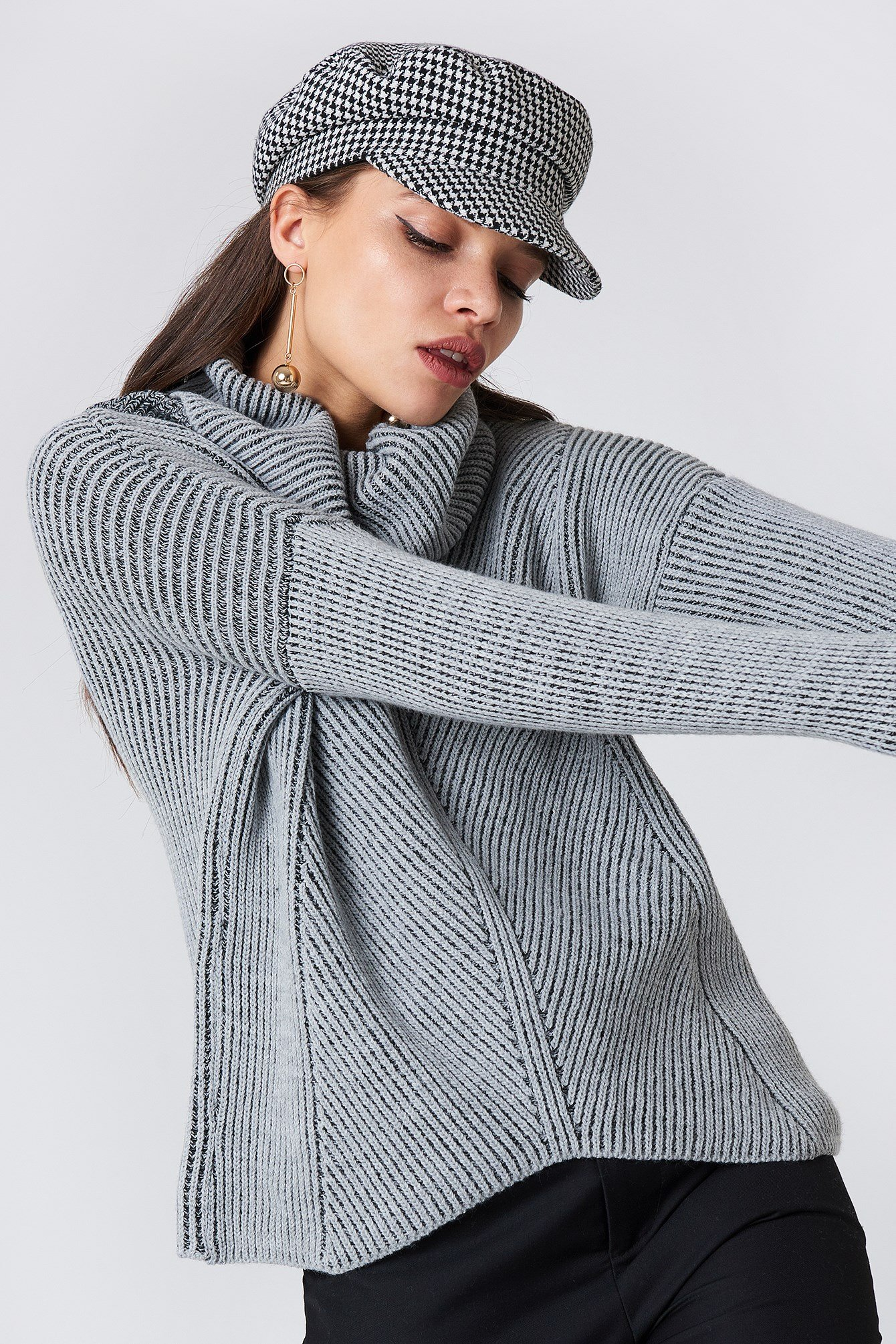 Ribbed High Polo Sweater NA-KD.COM