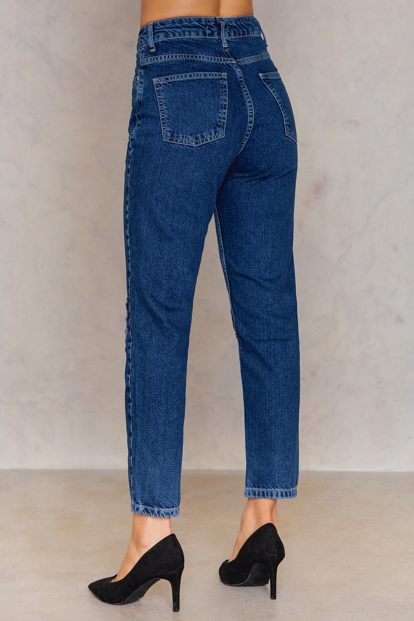 Mid Blue Ribbed Mom Jean